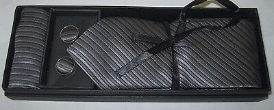 Unisex Men's GRAY STRIPES Necktie, Matching Handkerchief, & Cliff links-New!