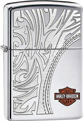 Zippo Harley Davidson Polished Chrome Lighter With Shield, # 28825, New In Box