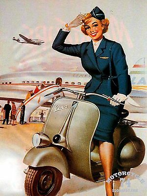 Metal Vintage Retro Vespa Scooter Tin Sign Wall Plaque / Fridge Magnet
