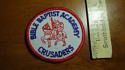 VINTAGE BIBLE BAPTIST ACADEMY CRUSADERS RELIGIOUS PATCH TAB   BX H 76