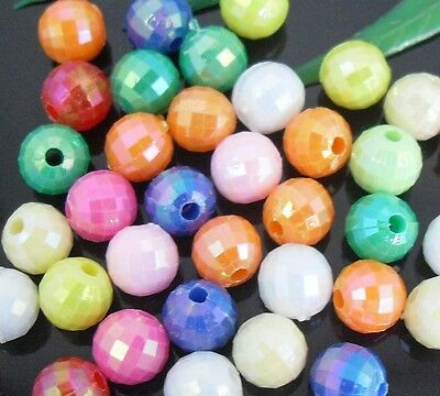 200Pcs Iridescent Mixed Acrylic Loose Round Ball Spacer Beads Charms 6mm