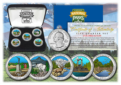 2011 Colorized National Parks quarters *5 coins set with box *  1