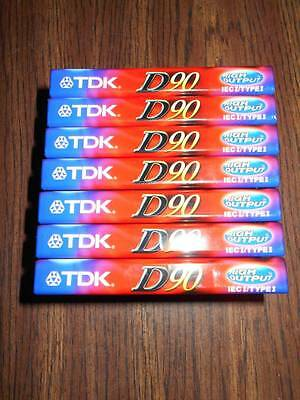7-TDK D90 High Output Audio Cassette Tape Blank Media Sealed IECI Type 1 NEW