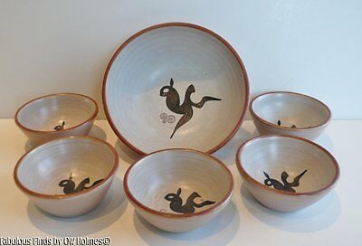 Mid-Century AMHA Ambacht Haalderen Holland Dutch Art Pottery Nut Bowl Set