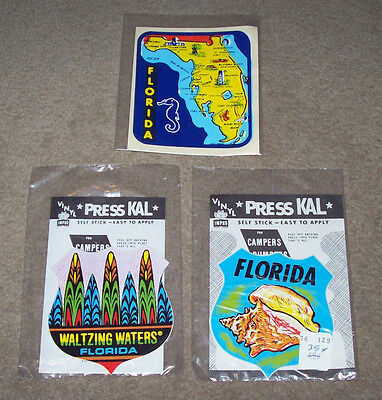 Lot of 3 NIP Vintage State of Florida Decals, Travel Souvenir Stickers