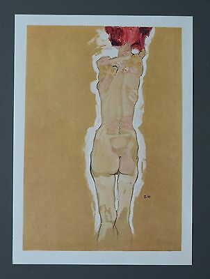 Egon Schiele Lichtdruck Lithograph Signed, Rückenakt 1910, Nude girl from behind
