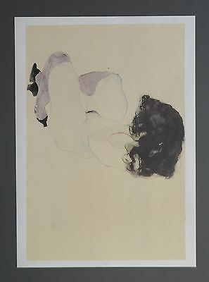 Egon Schiele Lichtdruck Collotype 36x50cm Nude with purple stockings 1912 Signed
