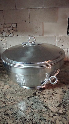 Vintage Hammered Aluminum Covered Made in Italy Warmer Bowl Ice Bucket Cooler