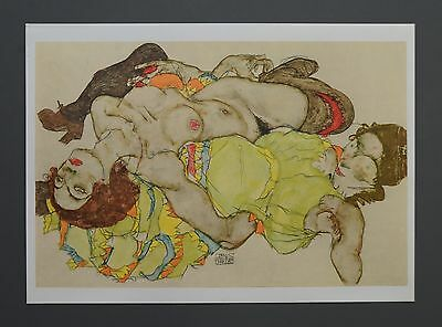 Egon Schiele Lichtdruck Collotype Signed Two reclining models 1915 Zwei Modell