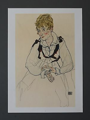 Egon Schiele Original Lichtdruck Collotype Signed The artist's wife 1917 Frau