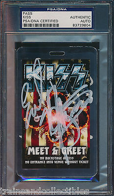 KISS BAND SIGNED CONCERT PASS Gene Simmons Paul Stanley + others PSA/DNA #9804