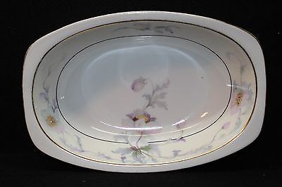 "1920 Epiag Czech Vegetable 6 1/2""""x 9 1/2""x2 Platter(Pastelle Pattern)-Gold Trim"