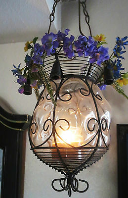 Unique Vintage Glass Lantern Metal Sconce Candle Holder Mothers Day Gift Chime