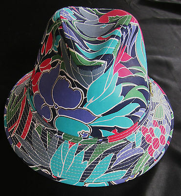 """Bright Colors Young An Fedora Hat """"Moja"""" Fuscia, Blues,Green Silver Buckle 7""""+"""