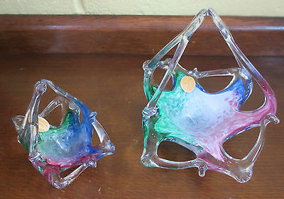 """MID CENTURY PAIR OF """"CRYSTAL CLEAR"""" MURANO STYLE ITALIAN BLOWN GLASS BASKETS"""