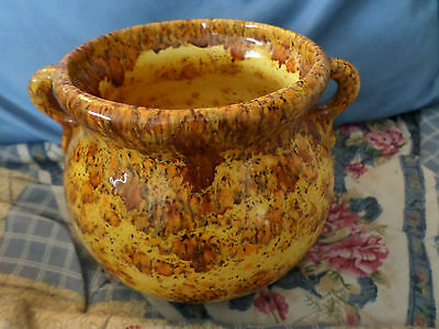 BEAUTIFUL YELLOW SPECKLED POT POTTERY PLANTER CERAMIC MARKED BK? BH? HANDLES EX