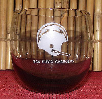 Vintage 1970s SAN DIEGO CHARGERS SMOKED GLASS ROLY-POLY TUMBLER Rocks NFL