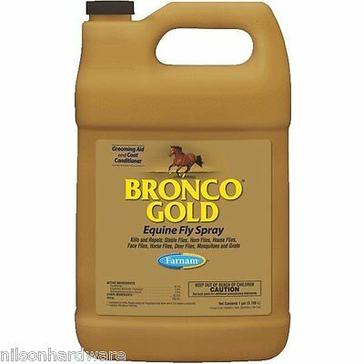 4 Pack Bronco Gold 128 Oz Equine Horse Fly Spray Coat Conditioner 3005682