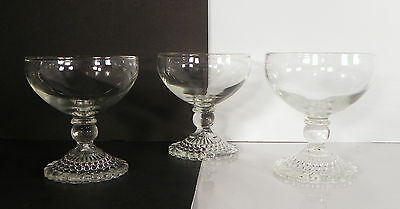SET 3 Anchor Hocking Depression Glass Bubble Foot Champagne Goblet Sherbet Clear
