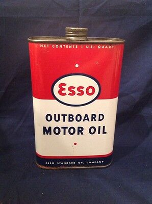 Vintage 1955 Esso Outboard Motor Oil Quart Can Empty