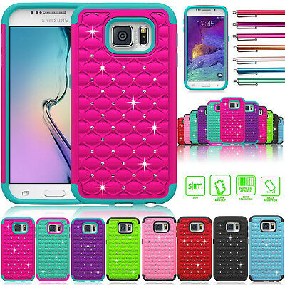 Hybrid Rugged Rubber Bling Crystal Hard Case Cover for Samsung Galaxy S6/S6 Edge