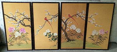 Vintage Asian Japanese Chinese 4 panel Paintings on Rice Paper cherry blossoms