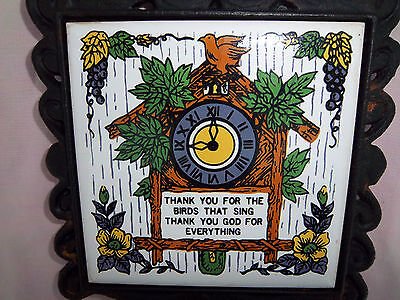 ROOSTER Trivet Vintage Cast Iron w/Tile Handle Center has Cuckoo Clock & Flowers