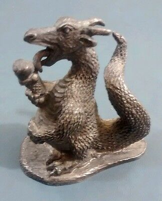 "Pewter Dragon Figurine Hand Crafted in USA 4"" tall Dragon Eating Ice Cream Cone"