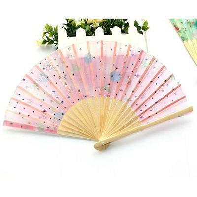 Portable Unisex Chinese Fan Summer Gift Unisex Bamboo Silk Hand Fan with Flower