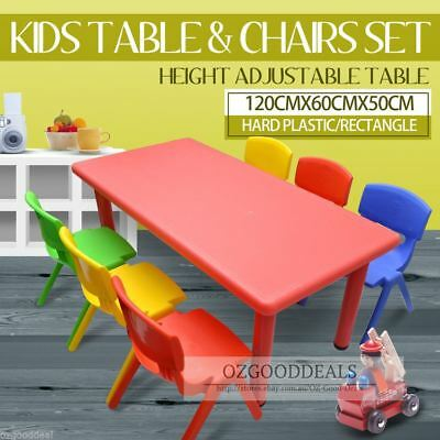 Large Kids Toddler Children Activity Table and 6 Chair Chairs Red 120x60cm L