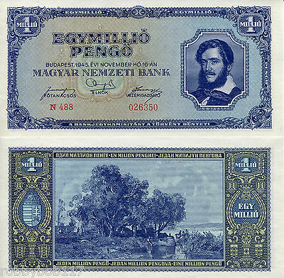 "HUNGARY 1 Million Pengo Banknote World Paper Money Currency p122 ""XF"" BILL Note"