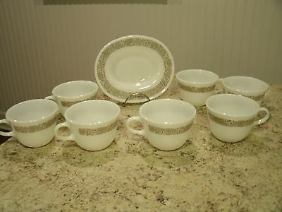 Vintage 8 Pc Mixed Lot PYREX Woodland Brown Coffee Cups Gravy Boat Under Plate