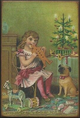 Wood Magnet~Christmas~Gingerbread~Pug~Girl~Vintage Style~309