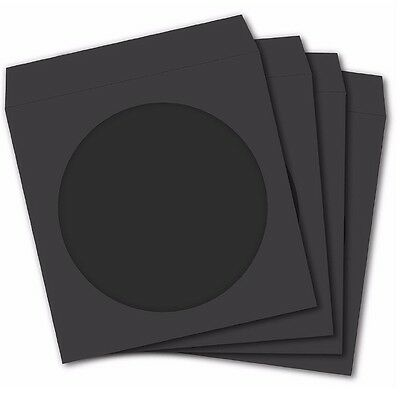 100 Premium Black Paper Sleeve Window Flap CD DVD 100P [FREE FAST SHIPPING]