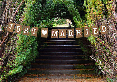 Just Married Wedding Bunting Cardboard Wedding Decoration - Vintage Square