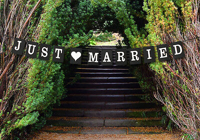 Just Married Wedding Bunting Cardboard Wedding Decoration - Black Square