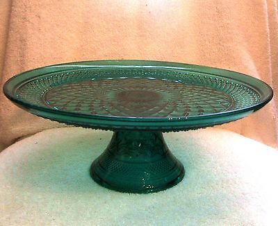 Vintage Anchor Hocking Wexford Green Glass Pedestal Footed Cake Plate