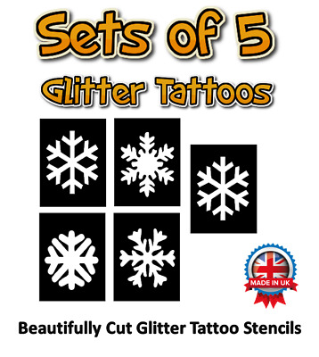 5 x snowflake glitter tattoo stencils great for Frozen parties, Christmas