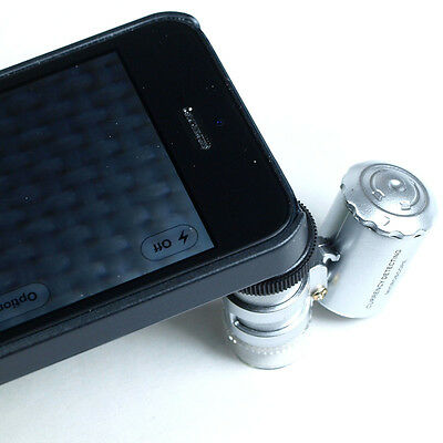 60X Jewelers Loupe / Magnifier with LED & UV Lights - iPhone 5/5s/5c Compatible