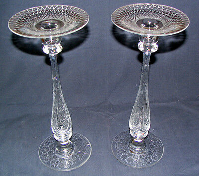 Pair of Signed Libbey American Cut Glass Crystal Etched Candle Sticks ~ RARE ~