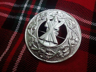 TC Men's Scottish Kilt Fly Plaid Brooches ST Andrew Silver Plated/Plaid Brooches