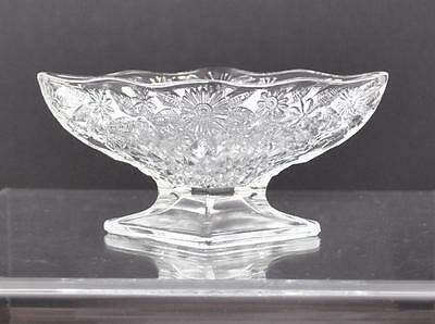 "Vintage Indiana Glass Diamond Compote Pedestal Diamond Pineapple Floral 6 1/2""P4"