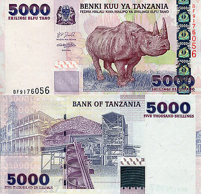 TANZANIA 5000 Shillings Banknote World Money Currency Africa Note Rhino p38 BILL