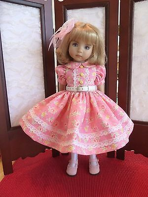 """Pink Roses Dress for 13"""" Dianna Effner Little Darling doll by Apple"""