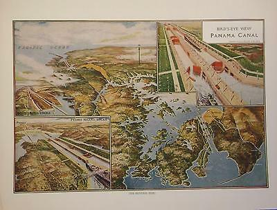 1915 Bird's-Eye View of Panama Canal Dated Color Atlas Print * 110 years-old!!