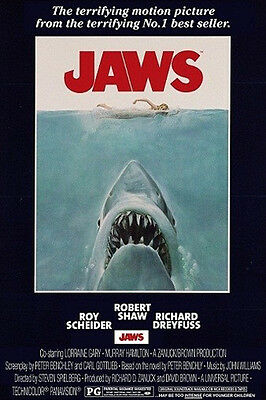 """Jaws POSTER """"Shark Attack, Cult Classic Horror Movie"""" BRAND NEW Licensed Art"""