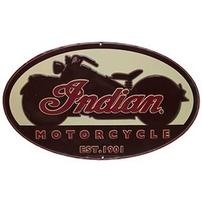 Indian Motorcycle Oval Embossed Tin Sign Chief Scout Vintage Style American Oil.