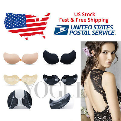 US Free Ship!Silicone Slef-Adhesive Stick-On Strapless Backless Invisible Bras B
