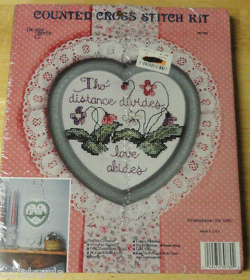 The New Berlin Co HEART 30780 Counted Cross Stitch Kit Tho Distance Divides Lace