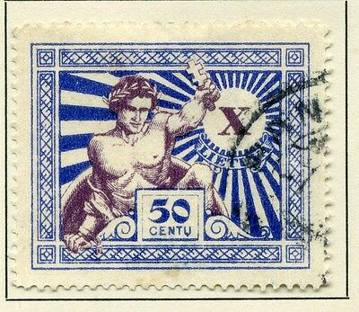 LITHUANIA;    1928 early Independence Anniv. issue fine used value 50c.